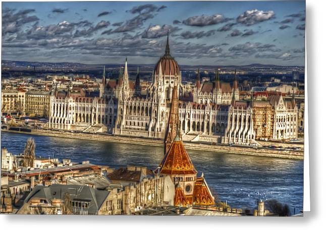 Dark Skies Greeting Cards - Buda Parliament  Greeting Card by Nathan Wright