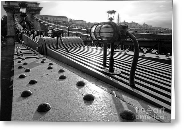 Chain Bridge - Budapest Hungary Greeting Card by Gregory Dyer