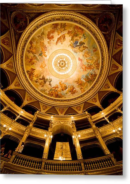 Painted Hall Greeting Cards - Budapest Opera House Auditorium and Ceiling Greeting Card by Artur Bogacki