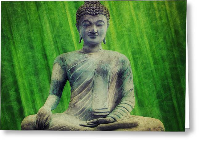 Inner Mixed Media Greeting Cards - Buddha Greeting Card by Angela Doelling AD DESIGN Photo and PhotoArt