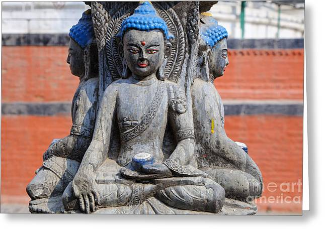 Religious Art Photographs Greeting Cards - Buddha Figure in Kathmandu Nepal Greeting Card by Robert Preston