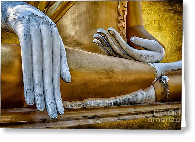 Nails Digital Art Greeting Cards - Buddha Golden Greeting Card by Adrian Evans