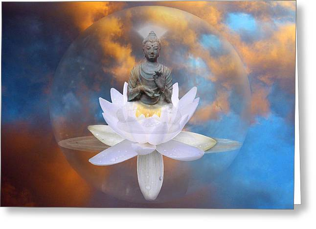 Lumiere Greeting Cards - Buddha Meditation Greeting Card by Gill Piper