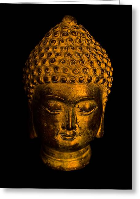 Head Dark Buddha Greeting Cards - Buddha portrait Greeting Card by Frank Gaertner