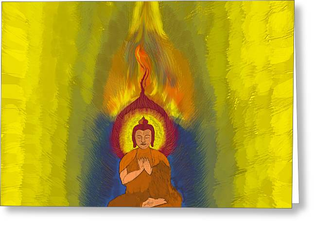 Religious work Digital Greeting Cards - Buddha Greeting Card by Stylianos Kleanthous