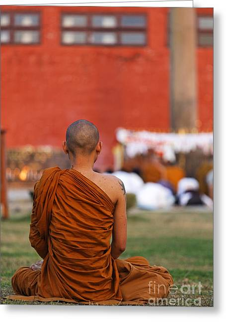 Buddhist Monks Greeting Cards - Buddhist monk at Lumbini in Nepal Greeting Card by Robert Preston