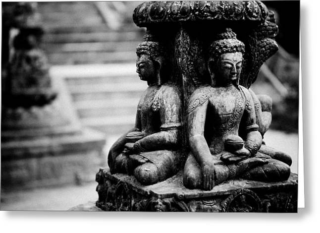 Sculpture Ideas Greeting Cards - Buddhist Sculpture Near Swayambhunath Greeting Card by Raimond Klavins