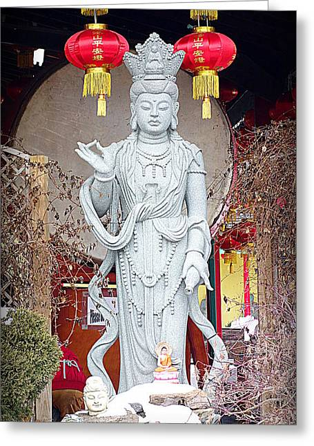 Ancient Indian Art Greeting Cards - Buddhist Statue Greeting Card by Valentino Visentini