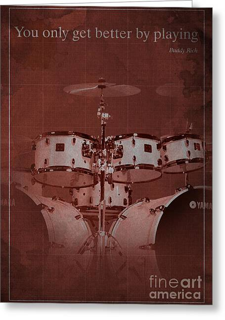 Buddy Greeting Cards - Buddy Rich Quote Greeting Card by Pablo Franchi