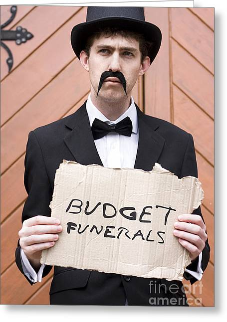 Advertise Greeting Cards - Budget Funerals Greeting Card by Ryan Jorgensen