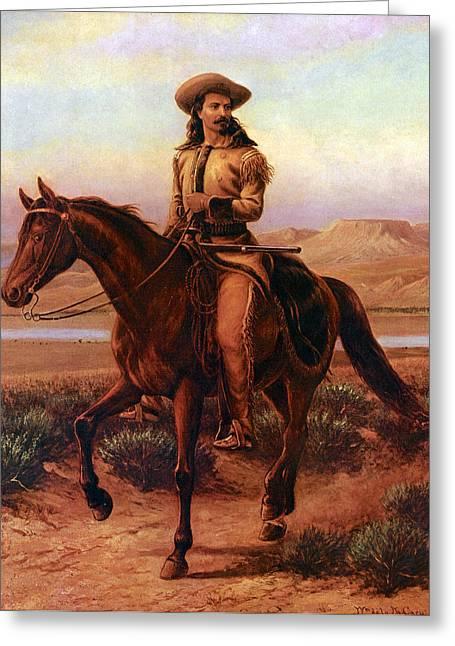 Buffalo Bill Cody Greeting Cards - Buffalo Bill on Charlie Greeting Card by William Cary