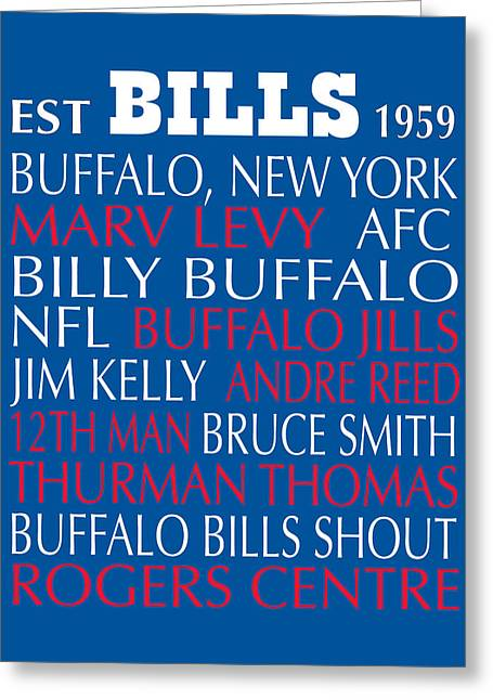Football Words Greeting Cards - Buffalo Bills Greeting Card by Jaime Friedman