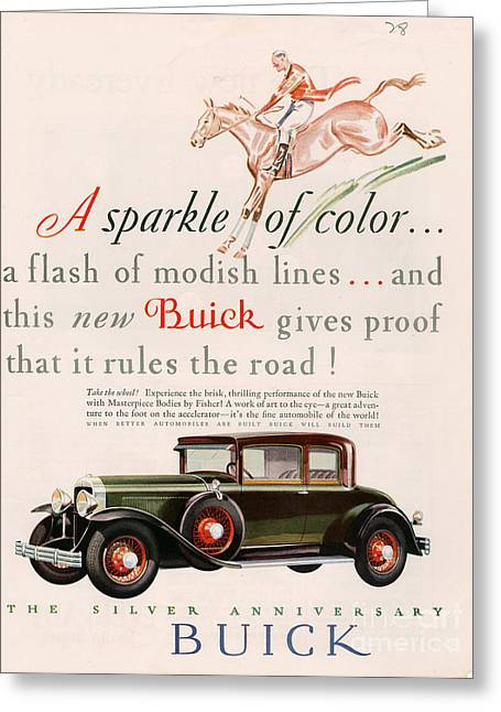 American Automobiles Greeting Cards - Buick 1928 1920s Usa Cc Cars Horses Greeting Card by The Advertising Archives