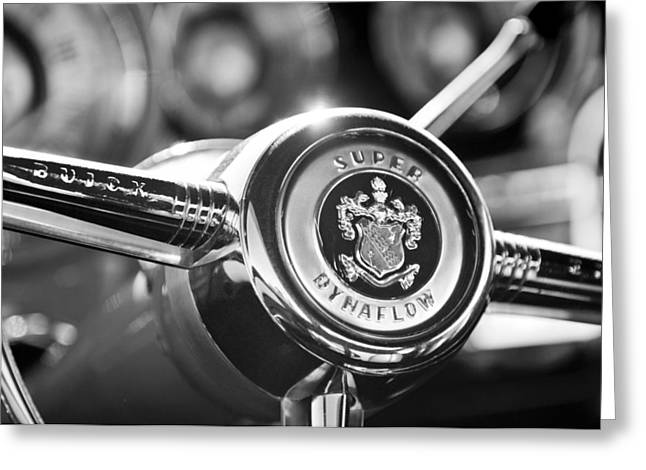 Buick Greeting Cards - Buick Eight Steering Wheel Greeting Card by Jill Reger