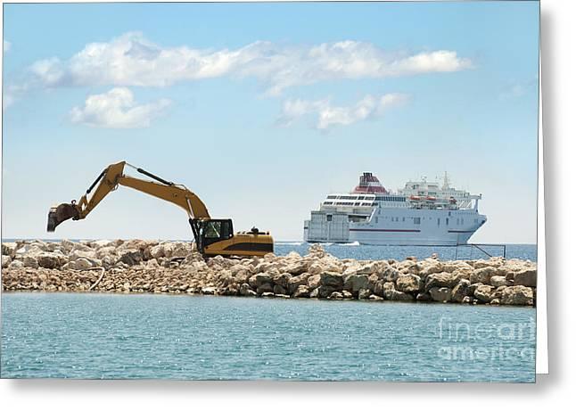 Reserve Greeting Cards - Building a dike. Excavator put stones Greeting Card by Deyan Georgiev