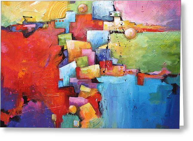 Over Sized Greeting Cards - Building Blocks Greeting Card by Karen Hale