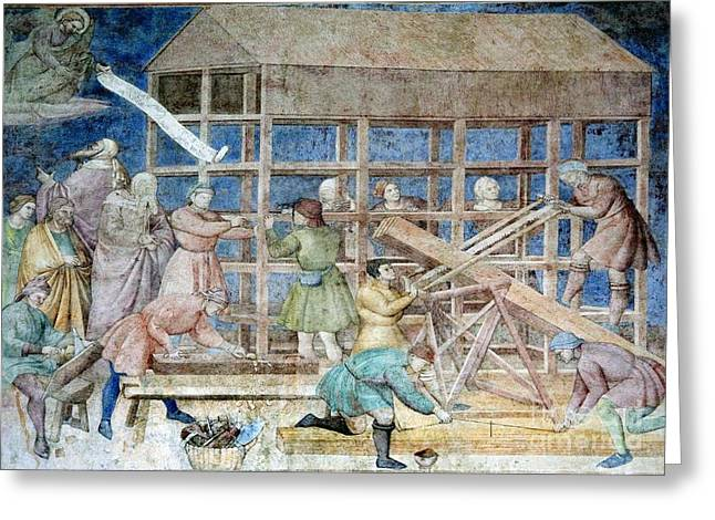 Theological Art Greeting Cards - Building Noahs Ark, 14th Century Fresco Greeting Card by Sheila Terry