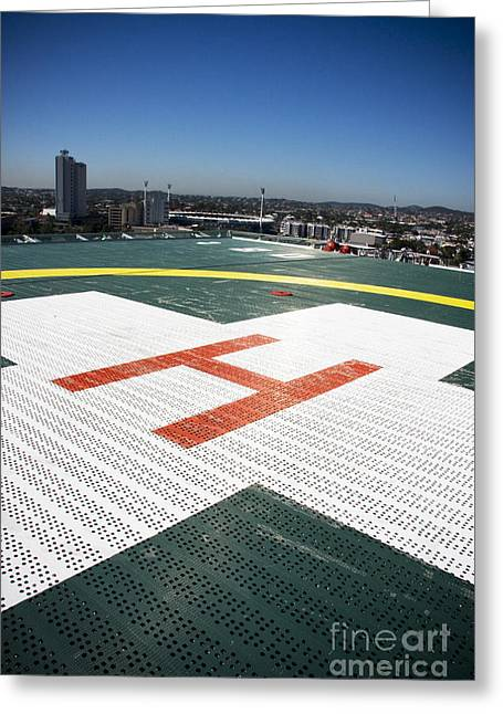 Helipad Greeting Cards - Building Top Helipad Greeting Card by Ryan Jorgensen