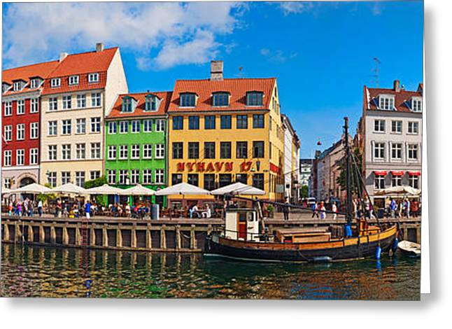 Sailboat Images Greeting Cards - Buildings Along A Canal With Boats Greeting Card by Panoramic Images