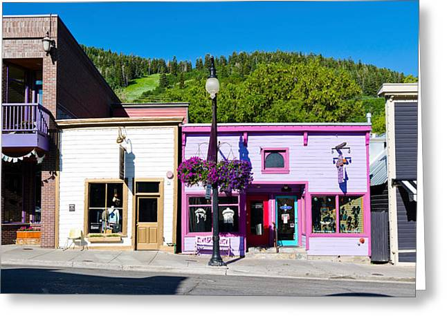 Main Street Greeting Cards - Buildings Along A Street, Main Street Greeting Card by Panoramic Images