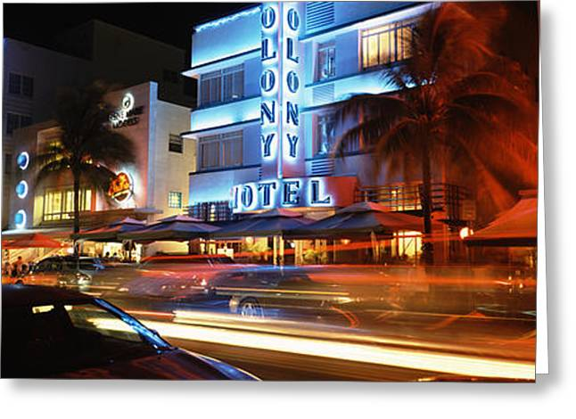 Roadside Art Greeting Cards - Buildings At The Roadside, Ocean Drive Greeting Card by Panoramic Images