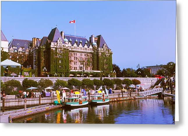 Buildings In The Harbor Greeting Cards - Buildings At The Waterfront, Empress Greeting Card by Panoramic Images