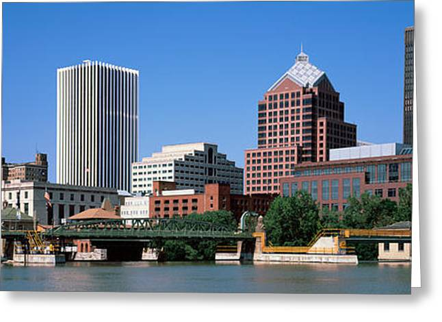 Rochester Skyline Greeting Cards - Buildings At The Waterfront, Genesee Greeting Card by Panoramic Images