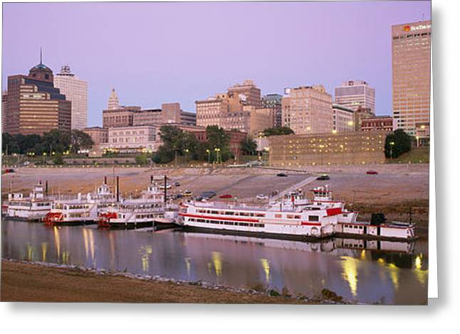 Tennessee River Greeting Cards - Buildings At The Waterfront, Memphis Greeting Card by Panoramic Images