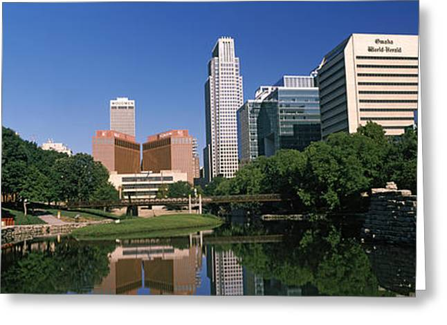Omaha Greeting Cards - Buildings At The Waterfront, Qwest Greeting Card by Panoramic Images