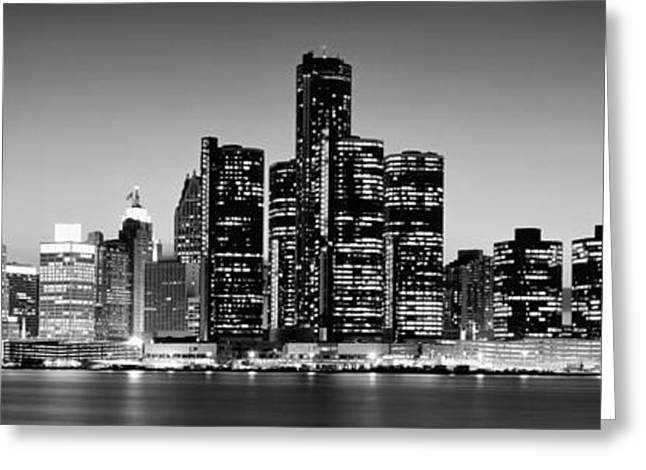 Illuminate Greeting Cards - Buildings At The Waterfront, River Greeting Card by Panoramic Images