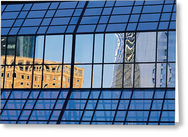 Window Reflection Greeting Cards - Buildings, Frankfurt, Germany Greeting Card by Panoramic Images