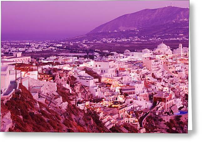 Pink Pastels Greeting Cards - Buildings, Houses, Fira, Santorini Greeting Card by Panoramic Images