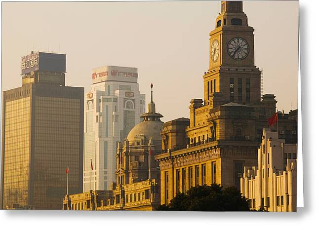 Bund Shanghai Greeting Cards - Buildings In A City At Dawn, The Bund Greeting Card by Panoramic Images
