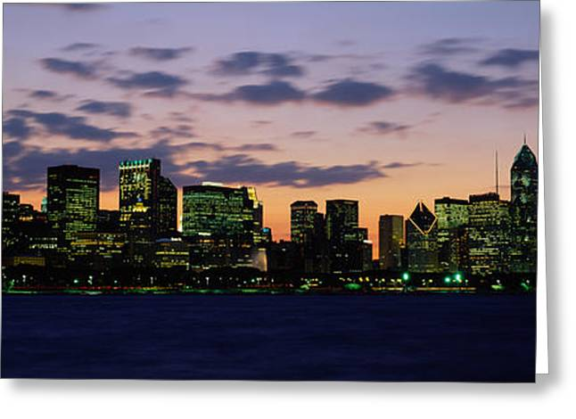 Skylight Greeting Cards - Buildings In A City At Dusk, Chicago Greeting Card by Panoramic Images