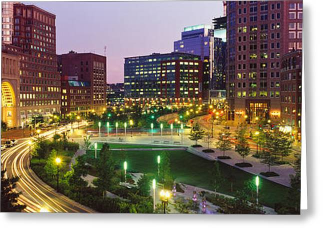 Buildings In A City, Atlantic Avenue Greeting Card by Panoramic Images