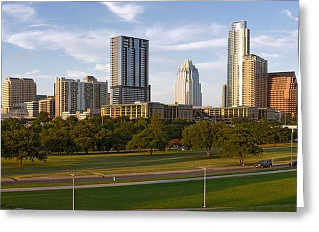 Austin Building Greeting Cards - Buildings In A City, Austin, Travis Greeting Card by Panoramic Images