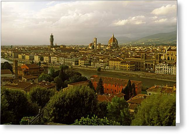 Michelangelo Photographs Greeting Cards - Buildings In A City, Florence, Tuscany Greeting Card by Panoramic Images