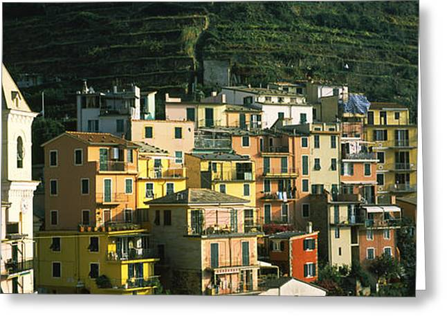 Manarola Greeting Cards - Buildings In A City, Manarola, Cinque Greeting Card by Panoramic Images