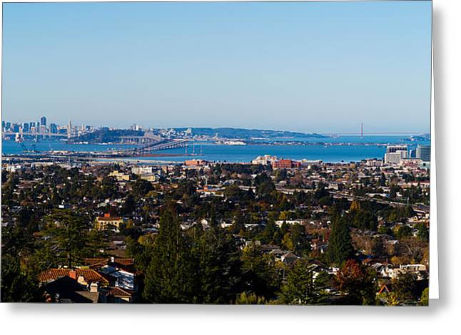 San Francisco Bay Greeting Cards - Buildings In A City, Oakland, San Greeting Card by Panoramic Images