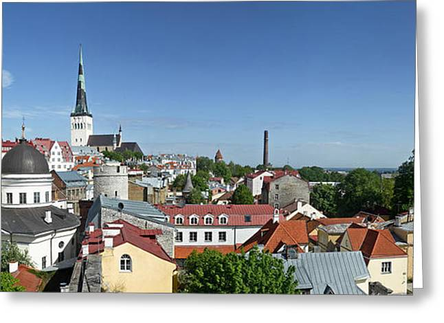 Tallinn Greeting Cards - Buildings In A City, St Olafs Church Greeting Card by Panoramic Images