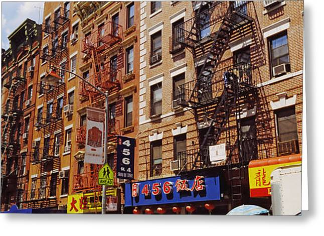 Mott Greeting Cards - Buildings In A Street, Mott Street Greeting Card by Panoramic Images
