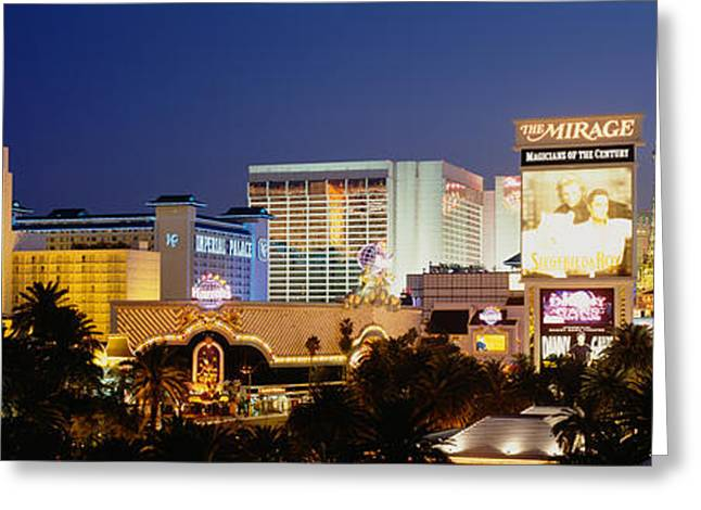 Script Greeting Cards - Buildings Lit Up At Dusk, Las Vegas Greeting Card by Panoramic Images