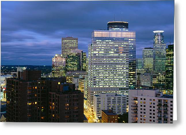 Twin Cities Greeting Cards - Buildings Lit Up At Dusk, Minneapolis Greeting Card by Panoramic Images