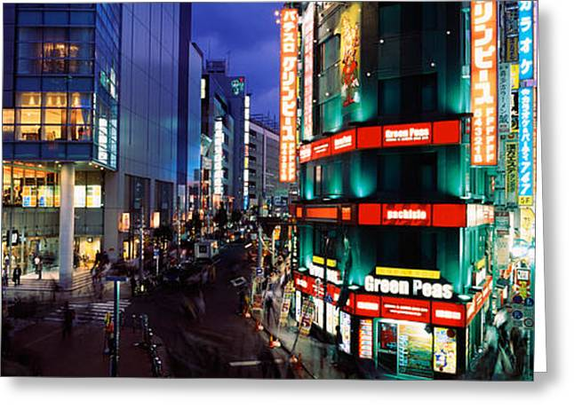 Buildings Lit Up At Night, Shinjuku Greeting Card by Panoramic Images