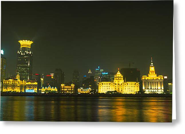 Bund Shanghai Greeting Cards - Buildings Lit Up At Night, The Bund Greeting Card by Panoramic Images