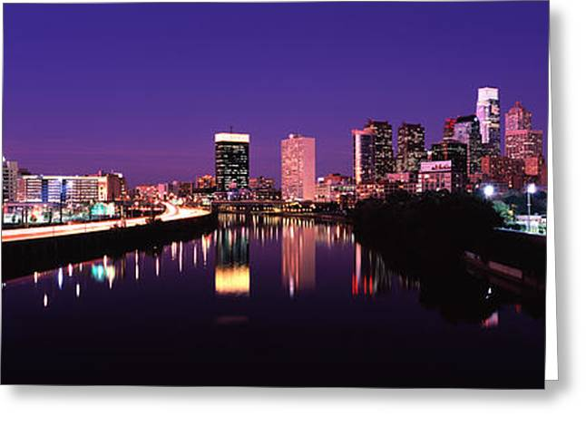 Schuylkill Greeting Cards - Buildings Lit Up At The Waterfront Greeting Card by Panoramic Images
