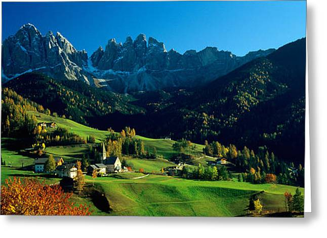 Mediterranean Landscape Greeting Cards - Buildings On A Landscape, Dolomites Greeting Card by Panoramic Images
