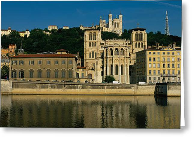 Lyon Greeting Cards - Buildings On The Waterfront, Saone Greeting Card by Panoramic Images
