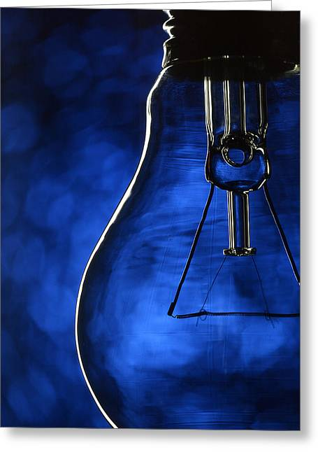 Nikolayevich Greeting Cards - Bulb on blue Greeting Card by Alain De Maximy