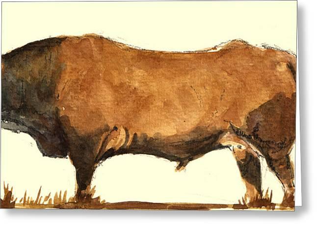 Steer Greeting Cards - Bull Greeting Card by Juan  Bosco